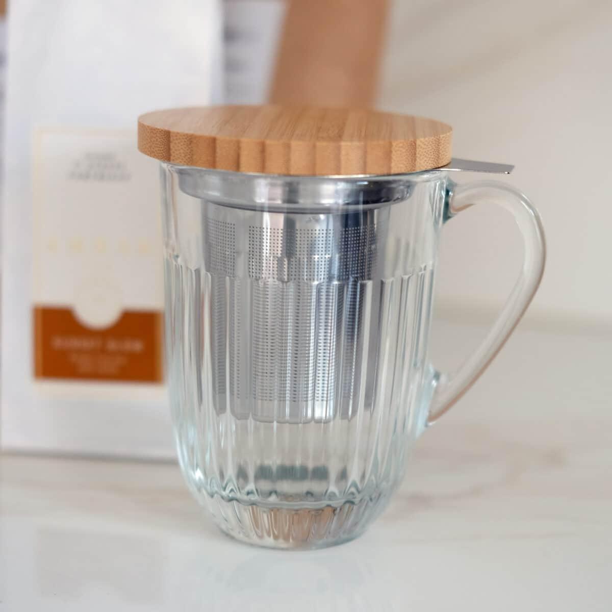Glazen theekop met RVS filter 360ml