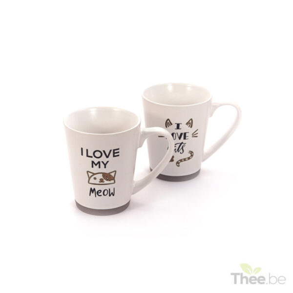 I love cats set theetassen